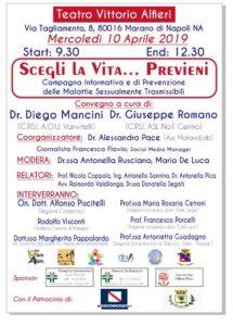 """""""SCEGLI LA VITA..PREVIENI"""" Appuntamento il 10 Aprile al Teatro Alfieri"""