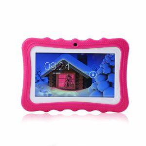 Womdee Tablet per Bambini, 7 Pollici Tablet Google Android 4.4 con Custodia in Silicone, Quad Core, 8 GB, 1.6GHz, WiFi, Doppia Fotocamera (Rosso)