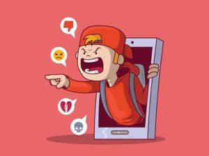illustrazione di un bullo che usa il cellulare come mezzo per vessare un compagno