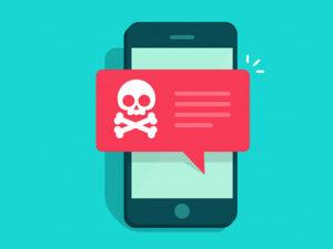 illustrazione di un messaggio pericoloso appena arrivato sul cellulare di un ragazzino